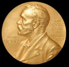 Nobelpris-plakett i guld
