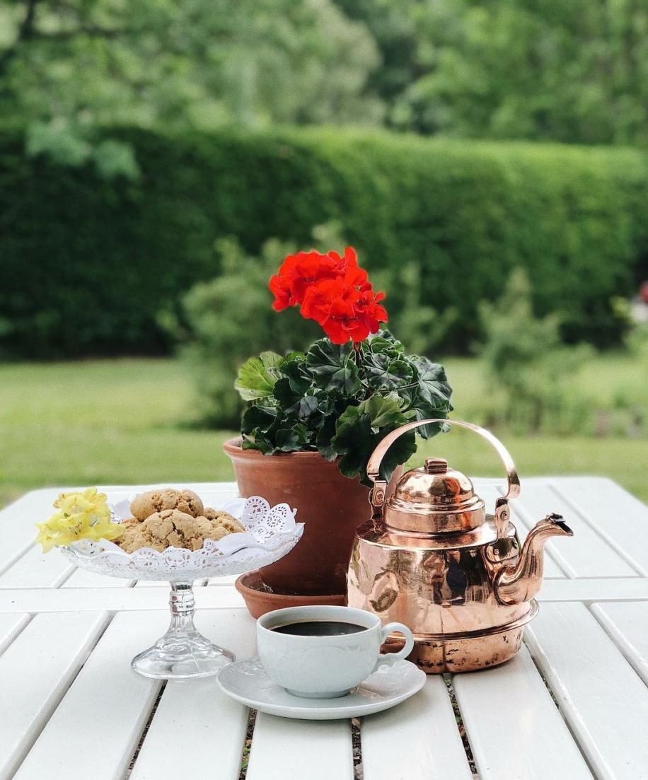 kaffepanna av koppar, pelargon, kaffekopp och kakfat på trädgårdsbord