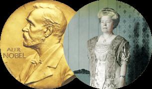Nobelpris-plakett och bild på Selma